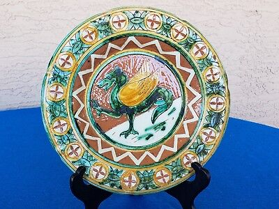 """Vintage Art Pottery Plate Italy Griffin Dragon L.d.bec Italy 9 1/2"""" L@@k Here!!"""