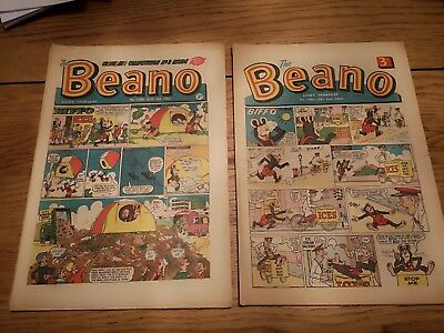 Vintage Beano Comics X 2 July 20th August 3rd 1963 1096 1098 collectible rare
