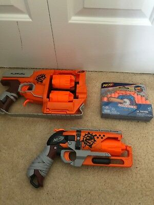 Lot of 2 Nerf Zombie Strike Dart Guns - HammerShot FLIPFURY and 24 New Darts
