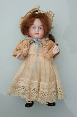 "Antique German all bisque jointed miniature  doll 5 1/4"" or 13 cms"