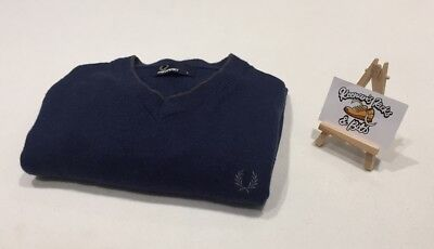 FRED PERRY Blue Knitted V Neck Cotton Jumper SMALL 'MOD SKA VINTAGE'