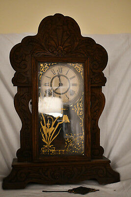 Antique Tall Carved Oak Sessions Gingerbread Kitchen Clock W/ Pressed Scrollwork