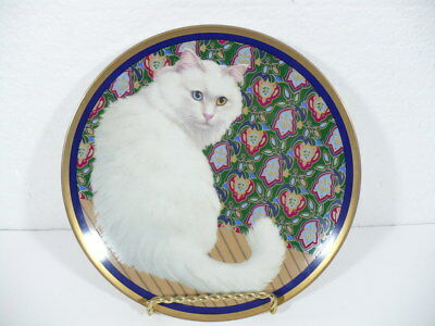 "Crowning Touch White Cat / Kitten with floral & Gold trim 8"" plate"