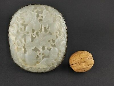 Antique Qing Dynasty Chinese Carved White Jade Plaque Ruyi