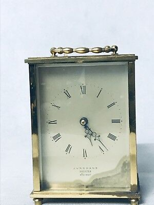 junghans meister ato mat antique Carriage Mantle Clock German Seven Jewels (15)