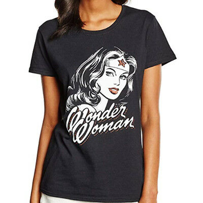 DC Comics Women's Wonder Woman Hint of Red T-Shirt Black Official Licensed