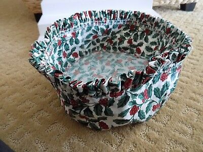 Longaberger Fabric Liner Christmas Cranberry Holly Round Never Used