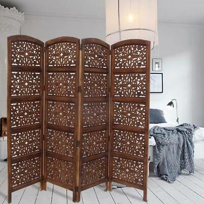 Handmade Foldable 4-Panel Wooden Partition Screen Room Divider, Brown