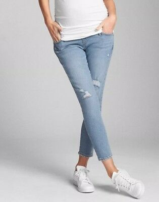 Gap Maternity Full Panel True Skinny Crop Jeans in Destructed- NWT 2