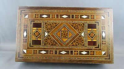 AUTHENTIC Orient-Syrian Mosaic Inlay Wood Trinket Jewelry box Antique