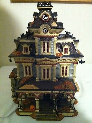 Dept 56 Halloween Grimsley Manor Haunted House in Box from1999 & Skeleton fence