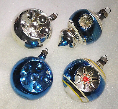 Vtg Premier Shiny Brite BLUE Double Indent Striped Embossed Glass Xmas Ornaments