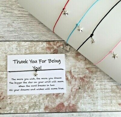 Thank You Wish Bracelet, Birthday Anniversary Best Friend Gift for Her or Him