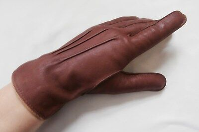 Vintage Early 1960's Soft Brown Lambskin Leather Wrist Gloves Size 7, Medium