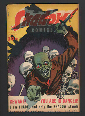 THE SHADOW Pulp Golden Age Comic Book Pre Code Horror Skull 1944 V3 12 VG 4.0