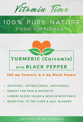 Turmeric (Curcumin) & Black Pepper 500mg, 60 - 90 - 180 - 360 Capsules