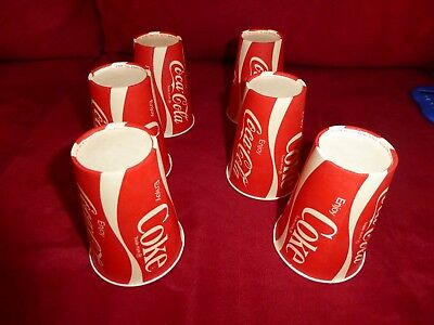 "6 Vintage Wax Coca Cola Coke Cups  Under 4"" Tall"