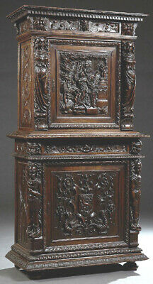 Extraordinary French Renaissance Style Carved Oak Bonnetiere,19th C. (1800s)!!!