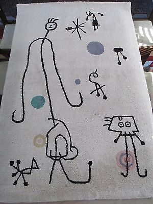"""Mid Century Area Rug Tapestry Wool After Joan Miro """"Personages"""" Barcelona Series"""