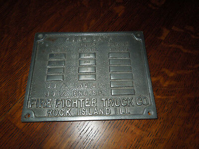 Fire Fighter Truck Pump Company Rock Island, Illinois Serial Number Plate