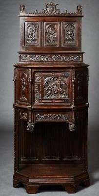 French Gothic Style Carved Walnut Cabinet, 19th century ( 1800s )