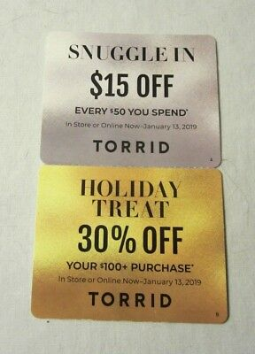 Torrid Coupons $15 & 30% Off Expires January 13th 2019