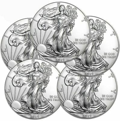 FIVE (5)   2019 1 oz. .999 American Silver Eagles, Gem BU w/ No Marks!