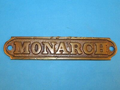 "Vintage MONARCH Brass Embossed Sign Name Plate Advertising     5 3/8"" X 1 1/8"""