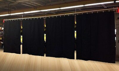 Lot of (8) Economy Black Curtain Panel/Partition, 15 H x 4½ W, Non-FR
