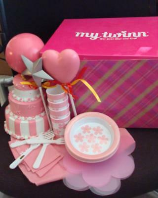 """New My Twinn Doll Pink and White Birthday Cake 6"""" Plastic Plates Cups Balloons"""