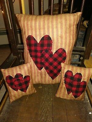 Primitive Valentines Day Heart Pillow Rustic Country Decor