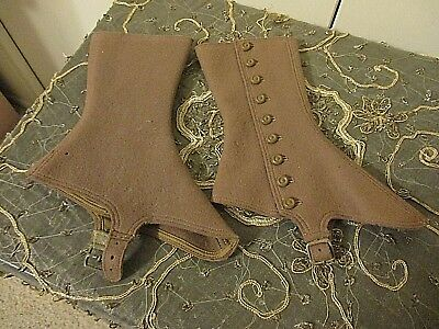 Edwardian Antique Spats Shoe Covers Felt Brown Wool 9 Button