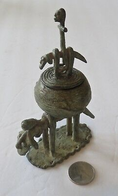 "Rare, Antique, Dogon, Cast Bronze Container, ""Hogon"" Equestrian Figure, Lid, 5"""
