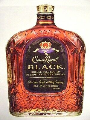 Crown Royal Black Bottle Graphic Wall/Floor Sign Large Vinyl Adhesive Back NOS