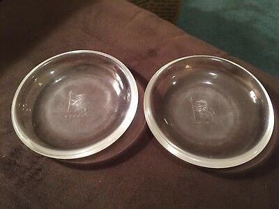Pair Rare Steuben Crystal Glass Large Coasters Dishes With Horse & Ax Crests
