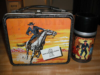 1960 Paladin have Gun will Travel Lunch Box & Thermos * Vintage * Western
