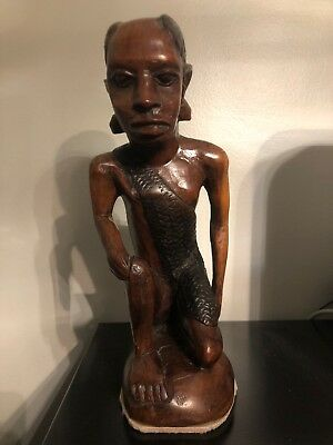 Vintage Wooden African Tribal Art Figure Hand Carved Statue