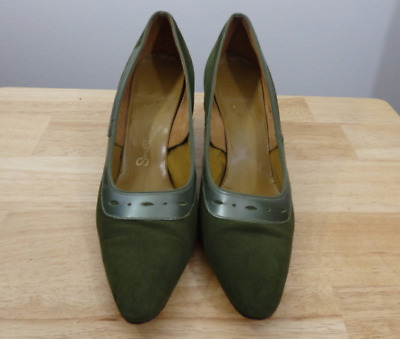Vintage Smartaire Suede Heels Pumps Shoes. Sz 6.5 narrow. (green 50's 40's 60's)