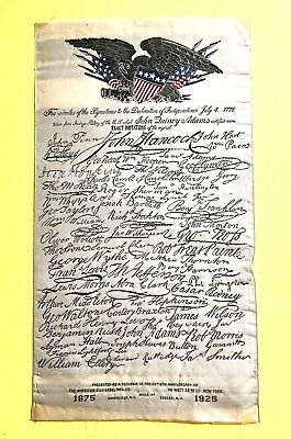Declaration of Independence Signatures American Silk Label Mfg. 50th Ann. Ribbon