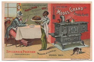 Spicer & Peckham Stove trade card   Uncle Sam & Black Butler  Let us have piece!