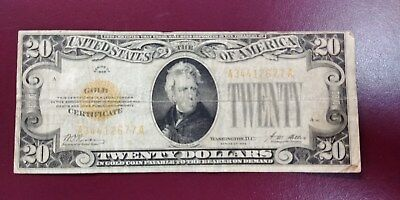 20 Dollars Gold Certificate Banknote From Usa 1928