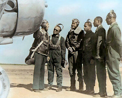 """THE TUSKEGEE AIRMEN WWII AFRICAN AMERICAN PILOTS 8x10"""" HAND COLOR TINTED PHOTO"""