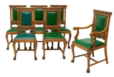 6 AMERICAN FOLIATE CARVED OAK DINING CHAIRS, circa 1900