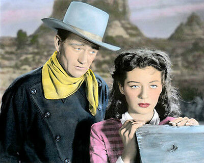 "JOHN WAYNE GAIL RUSSELL ACTORS ANGEL & THE BADMAN 8x10"" HAND COLOR TINTED PHOTO"