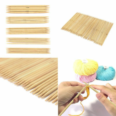55Pcs Double Pointed Bamboo Useful Knitting Needles Sweater Glove Knit Tool Set