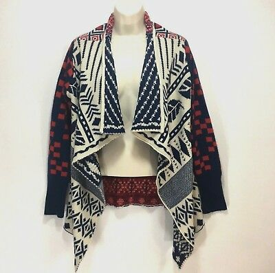 Double Zero Cardigan Sweater Womens Size S Waterfall Open Front Navy Red Aztec