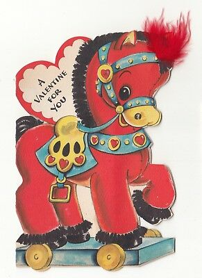 Vintage Greeting Card Valentine Die-Cut Cute Toy Horse Hallmark 1940s