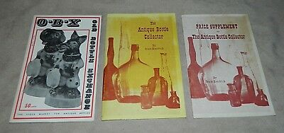 3-Vtg. THE ANTIQUE BOTTLE COLLECTOR by Grace Kendrick + Price Supplement + O-B-X