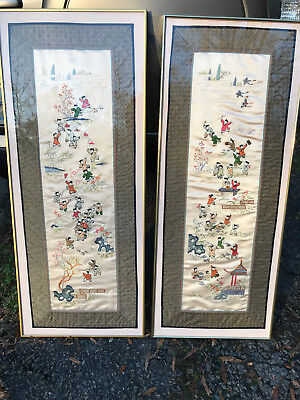 Vintage Chinese Silk Hand Embroidered Wall Hangings Pair Children's Tapestry