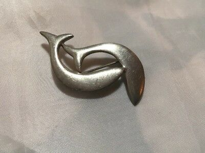 Vintage Dolphin Pewter Brooch Pin Playing Signed 1726